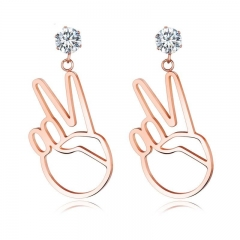 Temperament Simple Short Section Ms Fashion Titanium Steel Rose gold Earrings gold one size