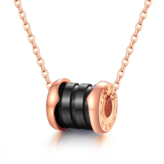 Rome Digital Fashion Temperament Necklace Titanium Steel Black Ceramic Ms Pendant black  gold one size