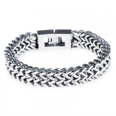 Men Titanium Steel Personality Bracelet Square Buckle Fashion Trend Bracelet silver one size