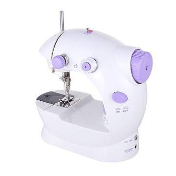 Home Tool Portable Double Speed Automatic Thread Mini Sewing Machine with Lighting Lamp as white