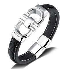 Personality Black Cortex Wristband Men Fashion Simple Titanium Steel Magnetic Buckle Bracelet black one size