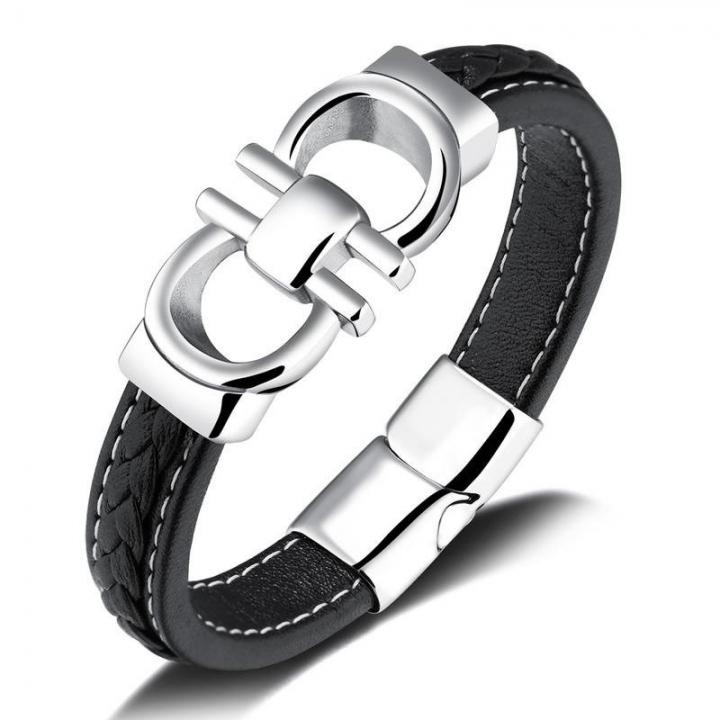 Personality Black Cortex Wristband Men Fashion Simple Titanium Steel Magnetic Buckle Bracelet black one size
