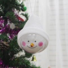 Christmas Decoration Supplies Creative Christmas Snowman Child toy Plastic Christmas Balls white one size