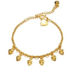 Fashion Personality Plated 18K gold Classic Style Bell Heart Ms Anklet gold one size