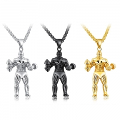 Fashion Fitness Dumbbells Necklace Titanium Steel Men Pendant Simple Personality Necklace gold one size