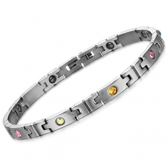 Ms Titanium steel With Magnetic Color diamond Square Health Titanium steel Bracelet silver one size