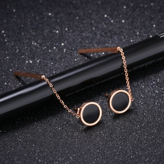 Simple fashion Small size Rose gold black Dots Exquisite temperament Wild earring gold one size