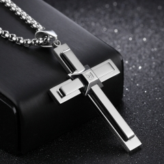 Fashion Hip hop Personality Christian Jesus Cross Men Stainless Steel Necklace silver one size