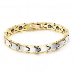 Men Personality Accessories Fashion Tungsten Steel Electroplated Rose gold Magnet Health Bracelet gold one size