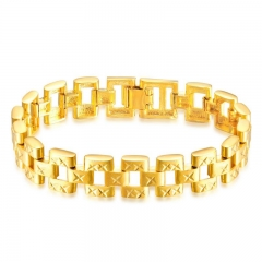 Personality Trend Copper Plated 18K gold Classic Men Fashion Baidu Bracelet gold one size