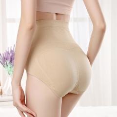 High waist Tight Abdomen Hip Triangle underwear Ms High elasticity fashion Underwear apricot one size