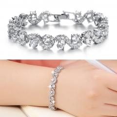 Fashion Wild Jewelry fine Flash Drilling Zircon Platinum Bracelet white one size