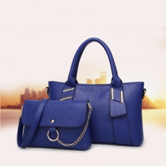 Ms Portable Shoulder Messenger Mother Package Litchi Pattern Fashion Wild Trend Package blue one size