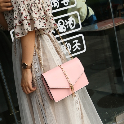 Lady Bags Messenger Tassel bag Chain Wild Fashion Packet Shoulder Diagonal Package pink one size
