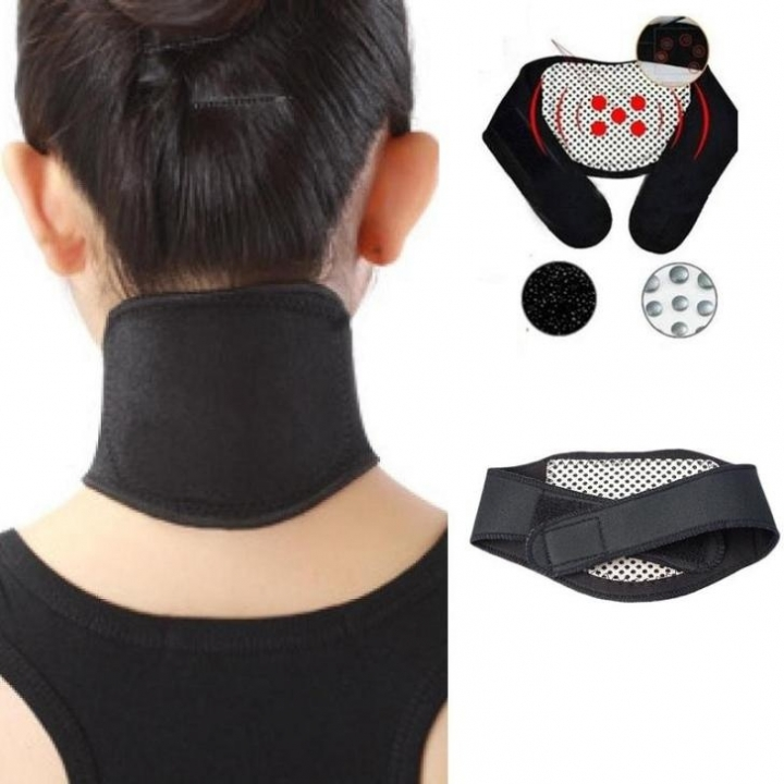 Tourmaline Magnetic Therapy Neck Massager Cervical Vertebra Protection Spontaneous Heating Belt Body black