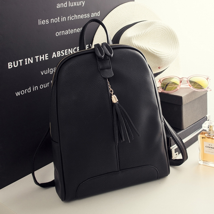 The New Fashion Tassel Backpack Leisure Ms Shoulder Bags College Wind  Backpack Simple School bag black 57e24c1d1d48b