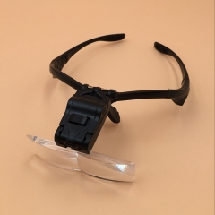 Five Groups Lens Glasses Type Read The Tape LED Lights Magnifier  Head-mounted Magnifier black one size