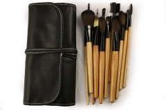 Ms Personality Fashion Make up tool 18 Branches Black Wood Color Makeup Brush Set PU Package wood color