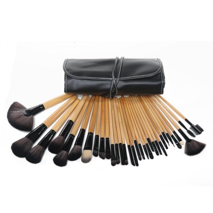 Ms 32 Black Wood Color Makeup Brush Set Litchi Pattern PU Package Makeup Tools wood color