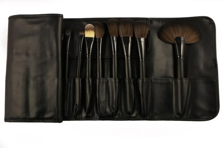 Ms 32 Black Wood Color Makeup Brush Set Litchi Pattern PU Package Makeup Tools black