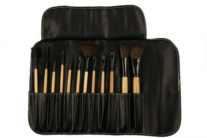 Ms Fashion 12 Branches Wood Color Black PU Package Makeup Brush Set wood color