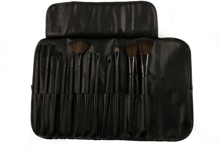 Ms Fashion 12 Branches Wood Color Black PU Package Makeup Brush Set black