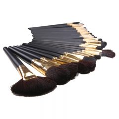 Ms Fashion 32 Branches Gold Tube wool Makeup Brush Set Wooden Handle Long Rod Makeup Brush black
