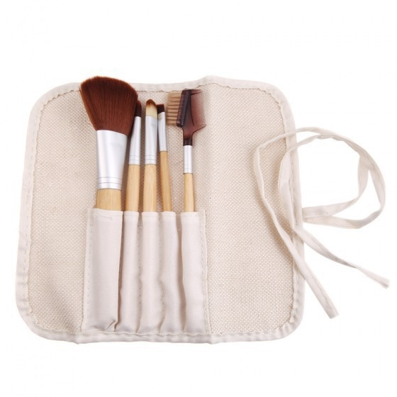 Ms Fashion Five Bamboo Makeup Brush Set Portable Models Makeup Tools white