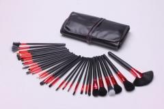 Women Fashion 32 Red Tube Makeup Brush Set Black PU Package Makeup Tools black
