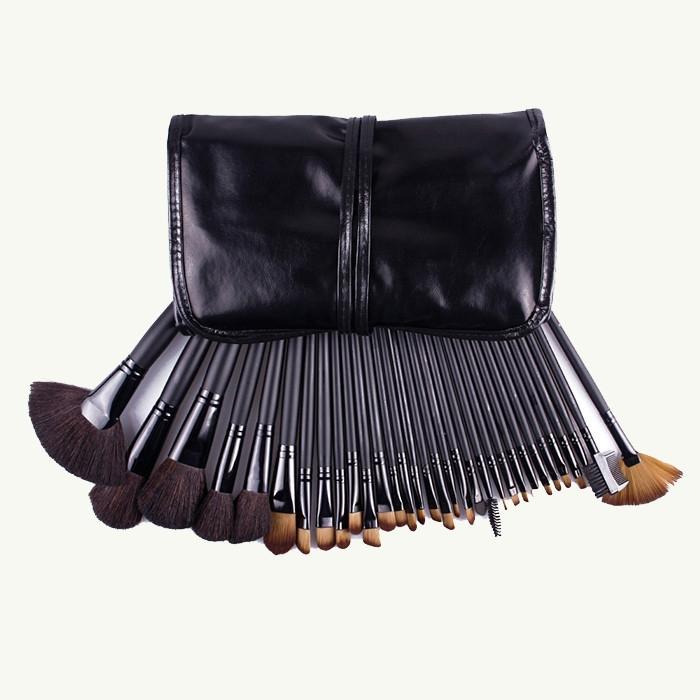 Women Fashion 32 brown Man-made Fibers Makeup Brush Set Makeup Tools black