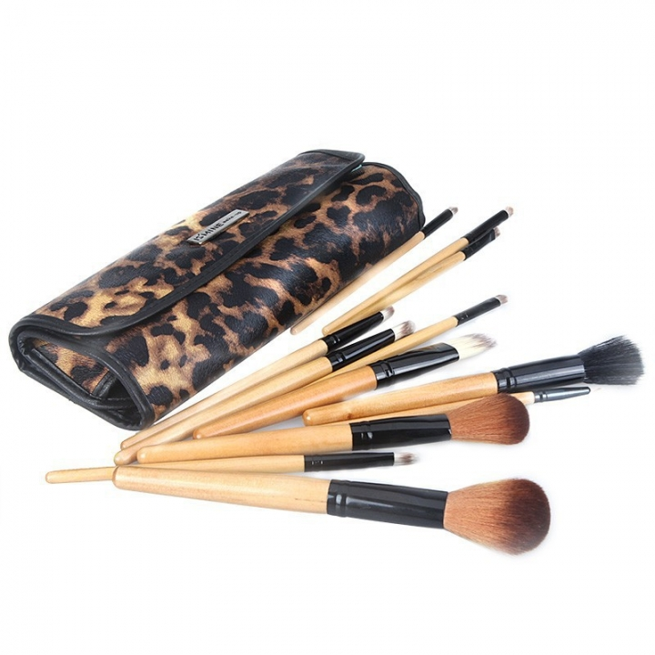 The New Ms Fashion Makeup Tools 12 logs Pole Leopard Brush Makeup Brush wood color