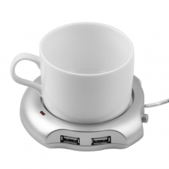 Hot  Mini Portable Wired Insulation Plate Electric Warmer Milk Mug Coasters USB Warmer Heate silver one size