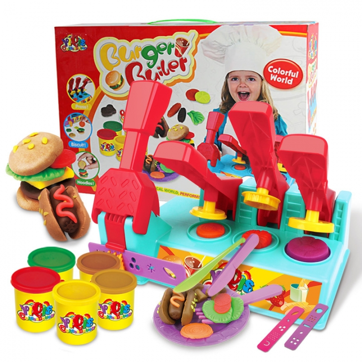 Choi Clay 3d Creative Plasticine Oversized Burger Mold Set Combination Child Brain Game colour one size