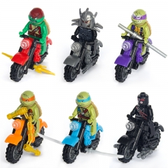 Child plastic Assemble Fight Interpolation Building Blocks Motorcycle knight Ninja Turtles toy 6 colour one size