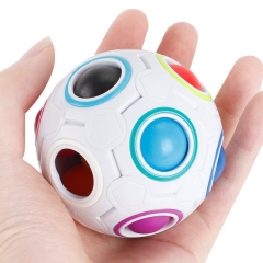 Magic Cube Magic Ball Alien Press Rubik's Cube Football Creative Rainbow ball Rainbow white one size