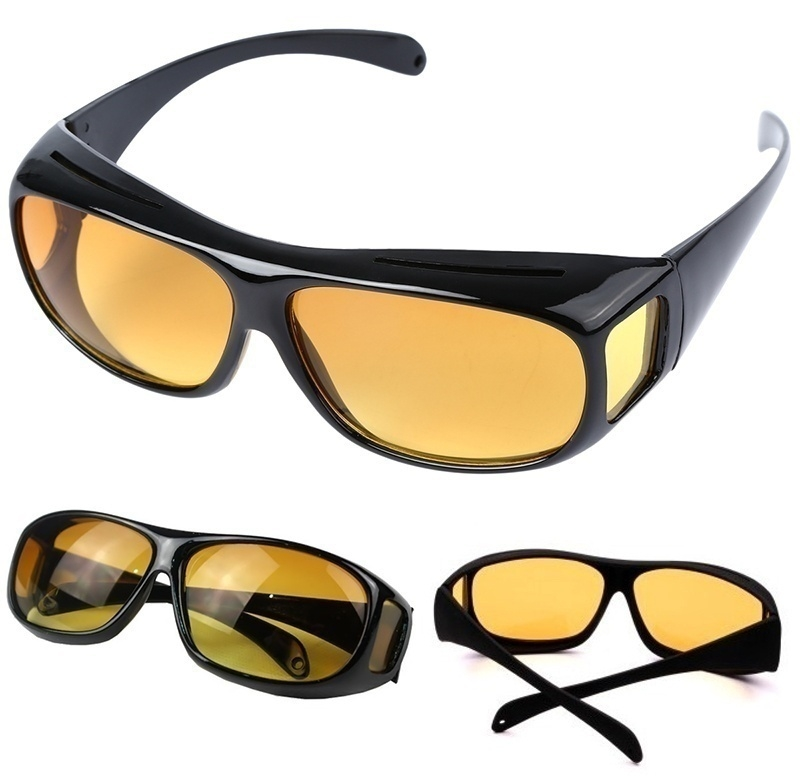e7084b13428 HD Car Driving Sunglasses Night Vision Wrap Arounds Yellow Lens Over ...