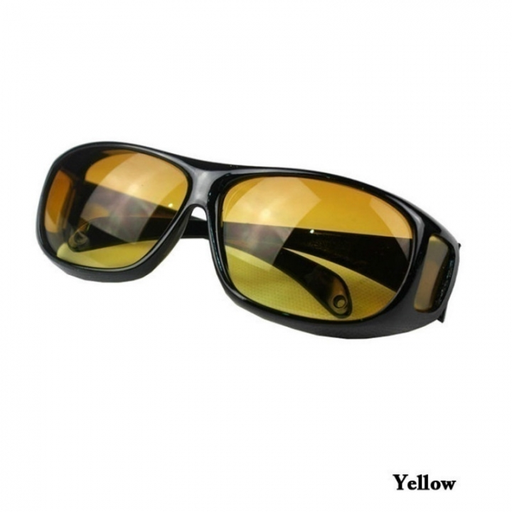 071b7e193c9 HD Car Driving Sunglasses Night Vision Wrap Arounds Yellow Lens Over Unisex  Glasses black coffe one