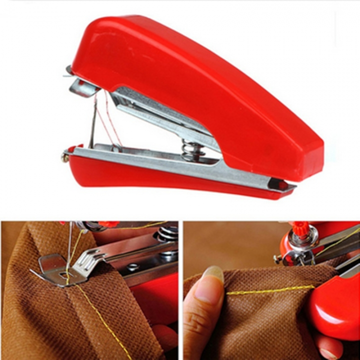 Handheld Mini Sewing Machine Portable Home DIY Needlework Cordless Machine Cloth Fabric Stitch red one size