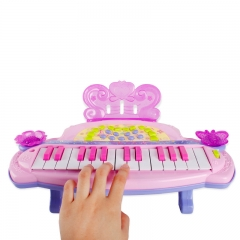 Child toy Simulation Piano Cartoon Puzzle Keyboard Princess Butterfly Piano light Music Toy pink one size