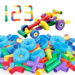 Child Plastic Tubular Assemble Building Blocks Early Education Puzzle Fight Interpolation toy colour one size
