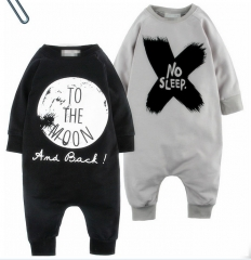 Boy Baby Printing Letter Long Sleeves Clothes Jumpsuit Long Section Cotton Clothing black 80 yards
