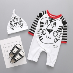 Fashion Cartoon lion Printing Long Sleeves Baby Romper Jumpsuit Climb Clothes Hat Set Clothing a 80 yards