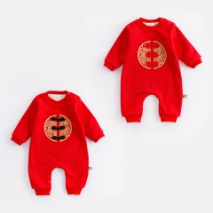Chinese Style New Year Plus Cashmere Thickening Baby Clothing Romper Jumpsuit a 80 yards