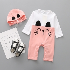 Western Style Fashion Baby Clothing Romper Long Sleeves Cotton Jumpsuit Lovely Clothing pink 80 yards