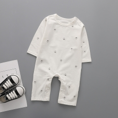 Western Style Fashion Long Sleeves Baby Clothing Romper Jumpsuit Clothes white 80 yards