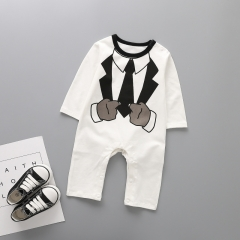Baby Clothing Romper Long Sleeves Cotton Jumpsuit Gentleman Printing Trend Clothing a 80 yards