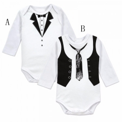 Western Style Cotton baby Gentleman tie Printing Romper Baby Climb Clothes Jumpsuit Children's Wear a 80 yards