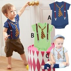Western Style Boy Short Sleeve Tie Printing Romper Clothing Baby Jumpsuit a 80 yards
