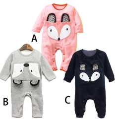 Boy Fashion Short Sleeve Romper Cotton Jumpsuit Baby Printing Clothing a 80 yards