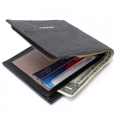 Men Cowhide The New Wallet Student fashion Card package Short Paragraph Wallet black one size